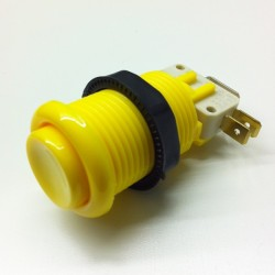 Bouton Arcade 28mm vissable - Jaune