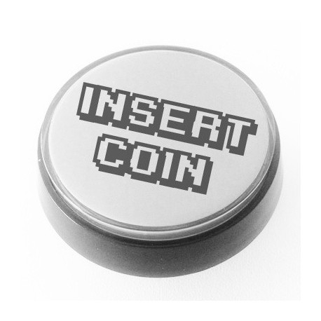 White illuminated 60mm INSERT COIN push button for pinball or arcade cabinet