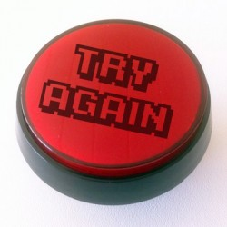 Botao TRY AGAIN luminoso 60mm Vermelho ideal para flipper ou maquina diversao