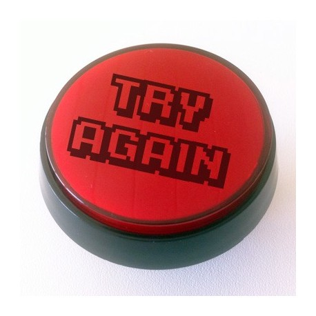 Red Illuminated TRY AGAIN push-button 60mm for pinball or arcade cabinet