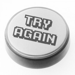 White Illuminated TRY AGAIN push-button 60mm for pinball or arcade cabinet