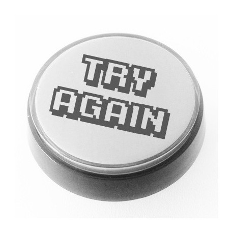 Botao TRY AGAIN luminoso 60mm Branco ideal flipper ou diversao arcade