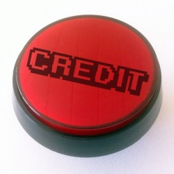 Red Illuminated CREDIT push-button 60mm for pinball or arcade cabinet