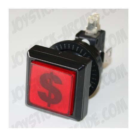 Illuminated Square push-button - $ dollar for Bartop