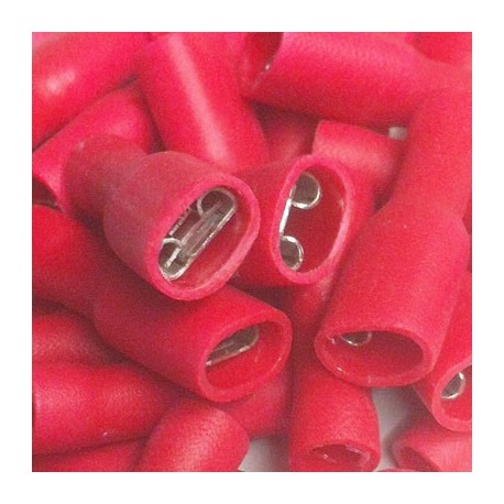 Pack 30 x red Insulated Fast-on connector 6.4 mm
